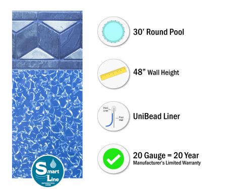 "SmartLine® 30' Round Tuscan Unibead Liner - 48"" H (Various Gauges)"