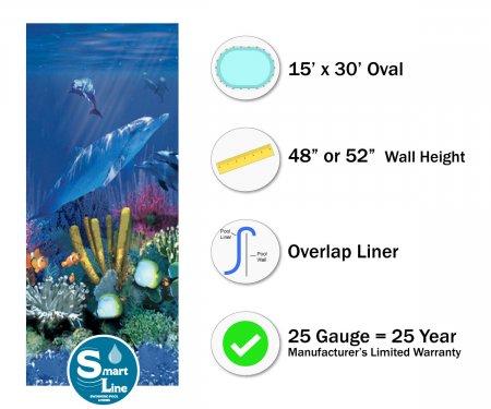 """SmartLine® 15' x 30' Oval Antilles Dolphin Overlap Liner - 48"""" / 52"""" H (Various Gauge)"""