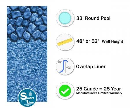 """SmartLine® 33' Round Boulder Swirl Overlap Liner - 48"""" / 52"""" H (Various Gauge)"""