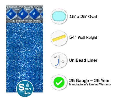 """SmartLine® 15' x 25' Oval Crystal Tile Unibead Liner - 54"""" H, 25 Gauge"""