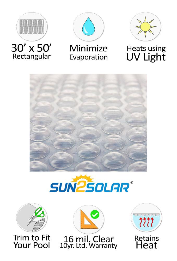 Sun2Solar® Crystal Clear Solar Cover 30' x 50' Rectangular