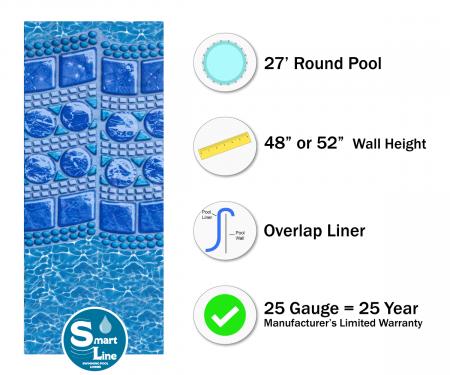 """SmartLine® 27' Round Swirl Tile Overlap Liner - 48"""" / 52"""" H, 25 Gauge"""
