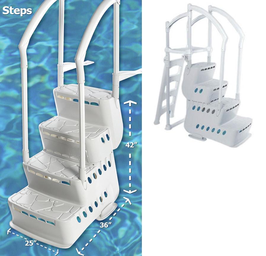 Biltmor Pool Step W 2 Pvc Handrails Amp Deck Attachment