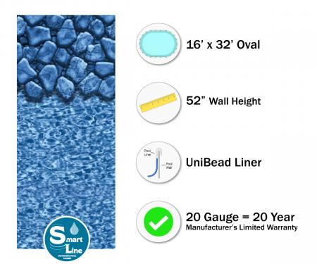 """SmartLine® 16' x 32' Oval Boulder Swirl Unibead Liner - 52"""" H (Various Gauges)"""