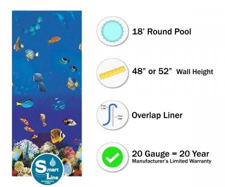 """SmartLine® 18' Round Caribbean Overlap Liner - 48"""" / 52"""" H (Various Gauges)"""