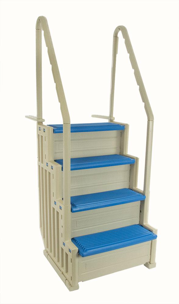 Confer Plastics In Pool Step Warm Gray W Blue Tread