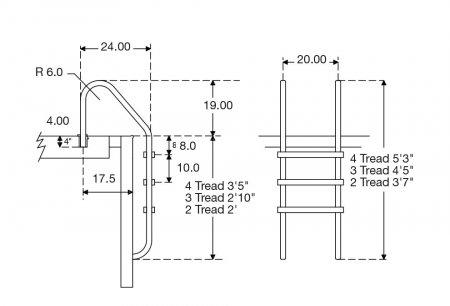 "Aqua Select® Inground Stainless Steel 4'5"" 3-Step Rail - Plastic Step"